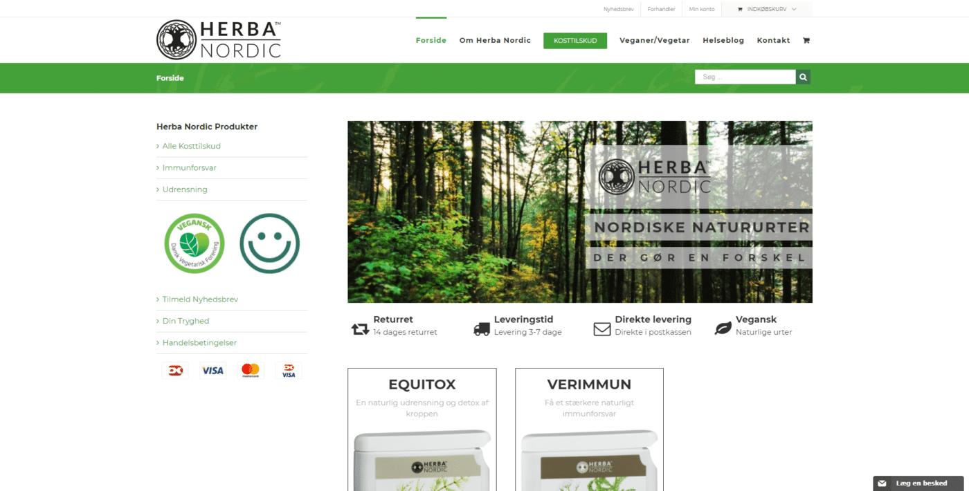 Webshop Case Forside • Herba Nordic