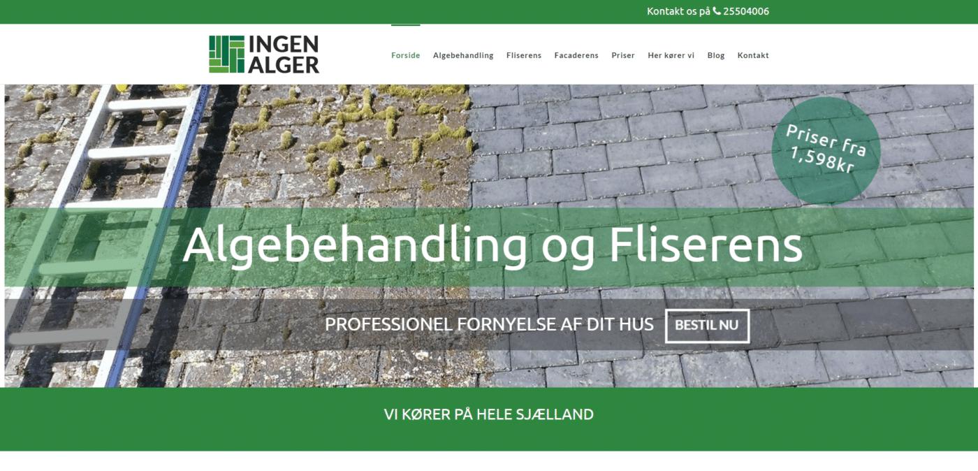 Hjemmeside Case Ingen Alger Rene Fliser og belægninger Når service og kvalitet tæller